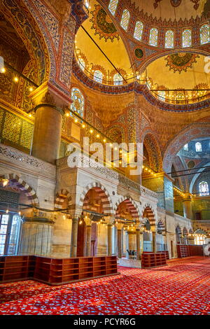 Blue Mosque interior, Sultan Ahmed Mosque, UNESCO World Heritage Site, Istanbul, Turkey - Stock Photo