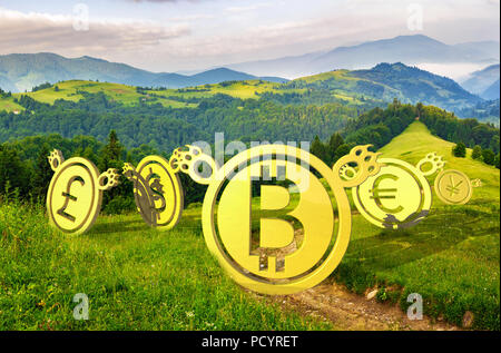 Bearish currency on slope of a hill. green summer valley descending trend. run away shamefully to the bottom at sunrise. clearing or bear market conce - Stock Photo