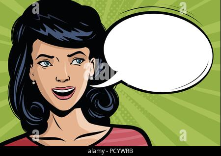 Beautiful young woman says. Vector illustration in style comic pop art - Stock Photo