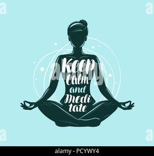 girl sitting in lotus pose yoga fitness logo or symbol
