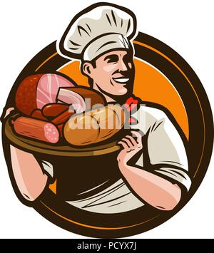 Cook holding a tray of meat products. Butcher shop logo. Vector illustration - Stock Photo