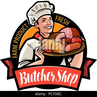 Butcher shop logo or label. Happy cook holding a tray with meat products. Cartoon vector illustration - Stock Photo
