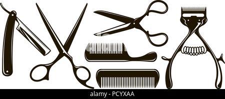 Barbershop items such as scissors, comb, razor, mechanical hair clipper. Retro vector silhouettes - Stock Photo