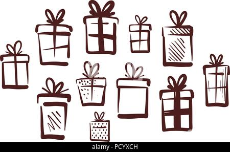 Gifts with bow, set of icons. Doodle vector illustration - Stock Photo
