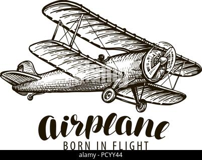 Flying airplane, biplane. Vintage sketch vector illustration - Stock Photo