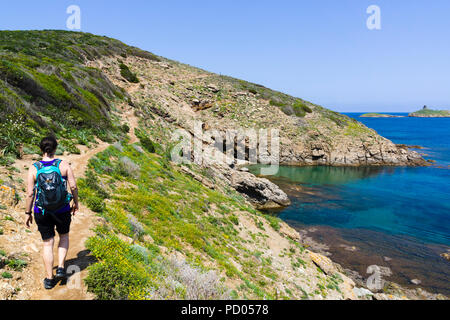 Sentier des douaniers, hiking trail, Cap Corse, Corsica, France - Stock Photo