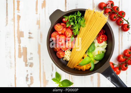 One pot pasta seeing from above - Stock Photo
