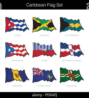 Caribbean Waving Flag Set. The set includes the flags of Cuba, Jamaica, The Bahamas, Puerto Rico, Haiti, Dominican Republic, Barbados, British Virgin  - Stock Photo