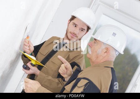 young tradesman and tutor holding trowel and float - Stock Photo