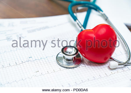 stethoscope and red heart Heart Check.Concept healthcare. - Stock Photo