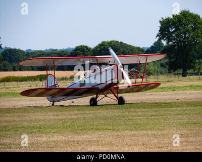 Tigermoth bi-plane aircraft, Headcorn, Kent, UK - Stock Photo