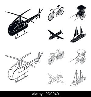 Bicycle, rickshaw, plane, yacht.Transport set collection icons in black,outline style vector symbol stock illustration . - Stock Photo