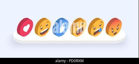 Abstract Isometric Set of Emoticons. Emoji flat style icons on white background. Vector EPS 10 - Stock Photo