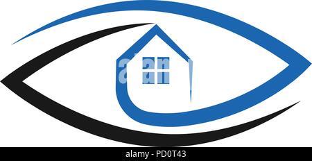 Real estate logo concept of eye and house vector - Stock Photo