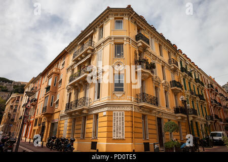 Old apartment building in Monaco principality, Europe, traditional residential architecture - Stock Photo