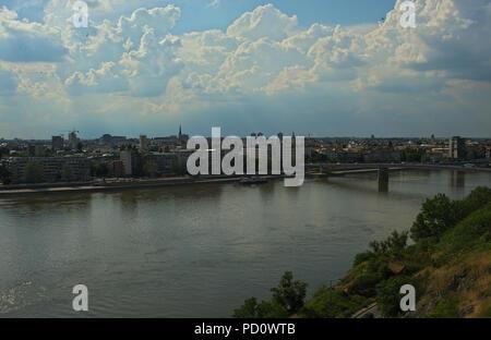 View on river Danube and city of Novi Sad, Serbia from Petrovaradin fortress - Stock Photo