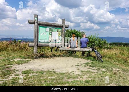 Tourists on a trip, Velka Javorina, Bilé Karpaty Mountains, Czech-Slovakian border Czech Republic hike - Stock Photo