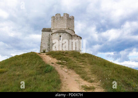 Zadar, Croatia - July 23, 2018: Saint Nicholas chapel and tower located on a hill between Nin and Zaton - Stock Photo