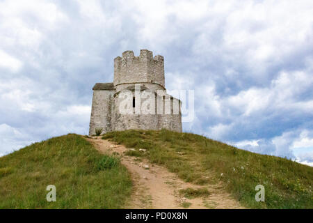 Zadar, Croatia - July 23, 2018: Saint Nicholas chapel and tower located on a hill between Nin and Zaton - Stock Photo