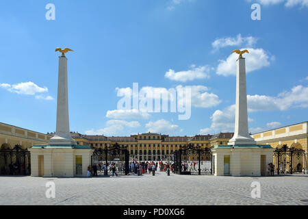 Main entrance of the Palace and Gardens of Schönbrunn in Vienna - Austria. - Stock Photo