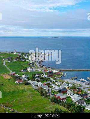 Alnes village with Alnes lighthouse. A little village in Norway. - Stock Photo