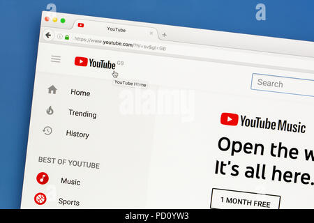 YouTube's website on a computer screen. Youtube is the biggest video-sharing website. - Stock Photo