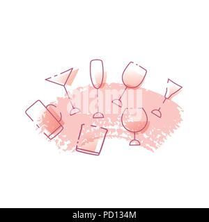 Vector illustration of glasses of alcoholic drinks isolated on white background. Alcohol cocktails banner and logo design. - Stock Photo