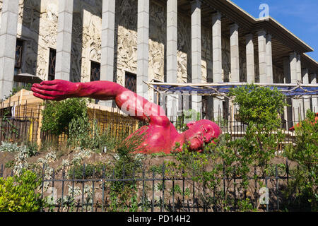 "Paris sculpture - Diadji Diop sculpture ""Dans le bonheur"" ('Swimming in happiness') in front of the Museum of immigration in Paris, France, Europe. - Stock Photo"