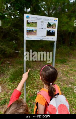 Children looking at a sign for vegetation restoration, Booroona walking trail on the Ross River, Rasmussen QLD 4815, Australia - Stock Photo