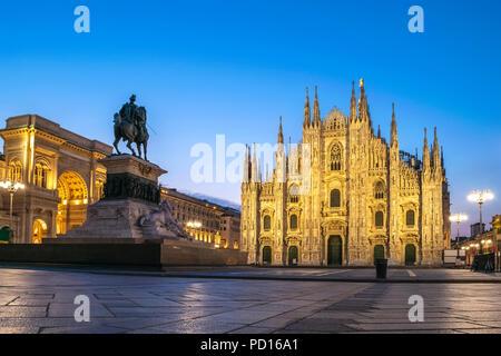 Milan city skyline sunrise at Milano Duomo Cathedral, Milan Italy - Stock Photo