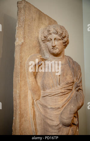 Part of Funerary Slab Monument, Woman with Raised Hand, found Kerameikos Cemetery, 350-325 BC. - Stock Photo
