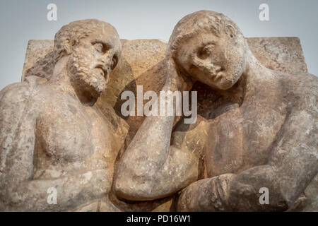 Grave Stele, Father, Son, and Servant, Death of an Athlete, 350-325 BC. - Stock Photo