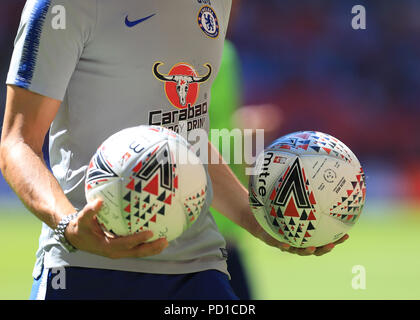 Wembley Stadium, London, UK. 5th Aug, 2018. FA Community Shield, Chelsea versus Manchester City; Detail View of the match ball Credit: Action Plus Sports/Alamy Live News - Stock Photo