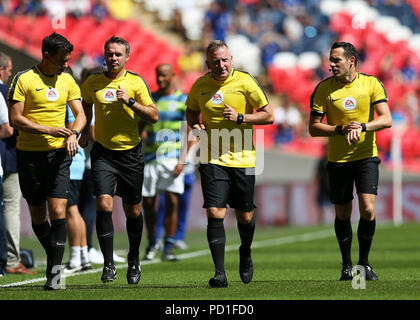 Wembley Stadium, London, UK. 5th Aug, 2018. FA Community Shield, Chelsea versus Manchester City; Referee Jonathan Moss during pre match warm up alongside Assistant Referee's Adam Nunn, Eddie Smart and Fourth Official Paul Tierney Credit: Action Plus Sports/Alamy Live News - Stock Photo