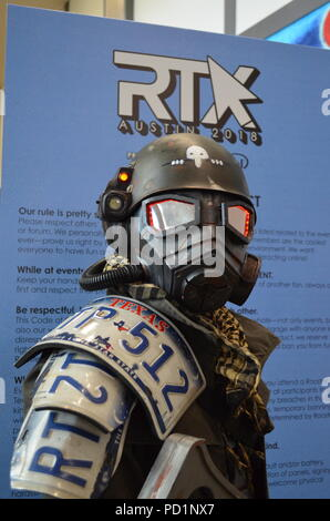 Austin, Texas, USA -  Cosplayer Luke as a character from Fallout. Tens of thousands of fans gather for RTX Austin, an annual gaming and Internet conventions created by Rooster Teeth held in Austin, Texas, Sydney, Australia, and London, England. From 500 people in 2011, RTX grew to 62,000 people in 2017. RTX has gained attention for its celebration the convergence of gaming and Internet culture. - Stock Photo