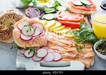 Bagels and lox platter - Stock Photo