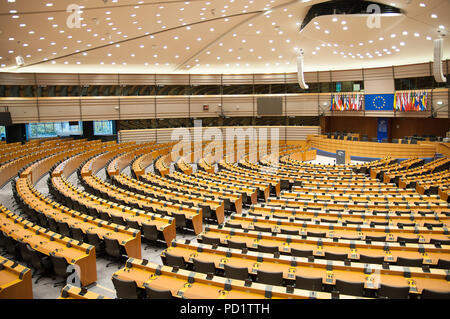 The Circular room in the European Parliament in Brussels, Belgium - Stock Photo