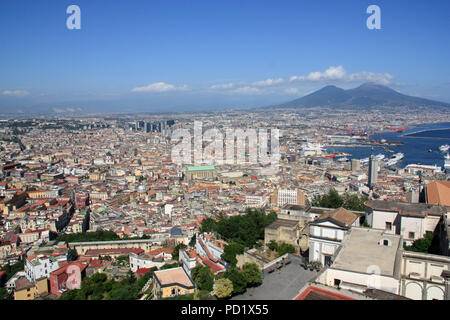 Stunning view of Napoli with Mount Vesuvius in the background - seen from the Castel Sant'Elmo in Naples, Italy - Stock Photo