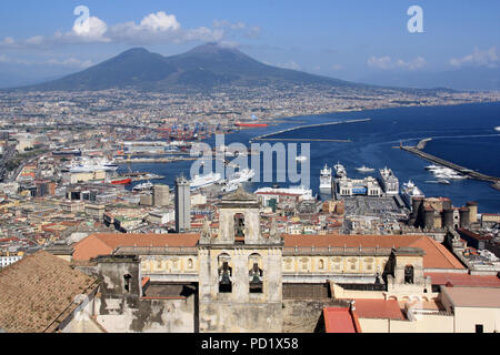 Stunning view of the Certosa di San Martino monastery complex, the city of Napoli and the Mount Vesuvius - Naples, Italy - Stock Photo