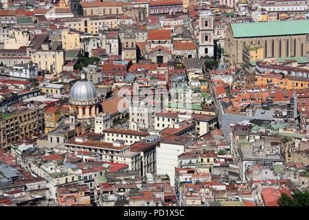 Stunning view of Napoli (Monastero di Santa Chiara on the right, Basilica dello Spirito Santo on the left), seen from the Castel Sant'Elmo in Naples - Stock Photo