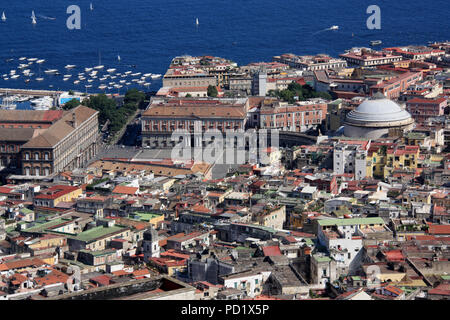Stunning view of the Piazza del Plebiscito, seen from the Castel Sant'Elmo in Napoli, Italy - Stock Photo