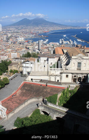 Stunning view of the Certosa di San Martino monastery complex, seen from the Castel Sant'Elmo in Napoli, Italy - Stock Photo