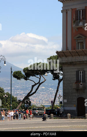 Palazzo Salerno and the slope of Mount Vesuvius seen from the Piazza del Plebiscito in Napoli, Italy - Stock Photo