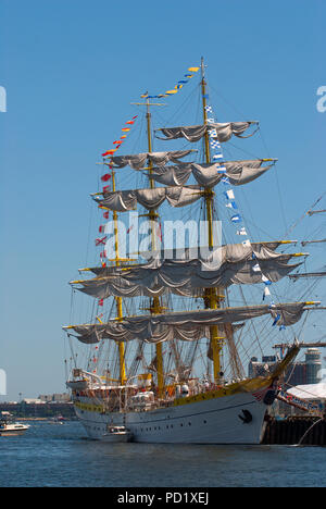 Sailing ship at Sail Boston Tall Ship Festival, Boston Harbor, Suffolk County, Massachusetts, USA - Stock Photo