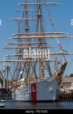 U.S. Coast Guard sailing ship, Sail Boston Tall Ship Festival, Boston Harbor, Suffolk County, Massachusetts, USA - Stock Photo
