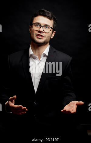 young ambitious politician give a promise to people. debate concept - Stock Photo