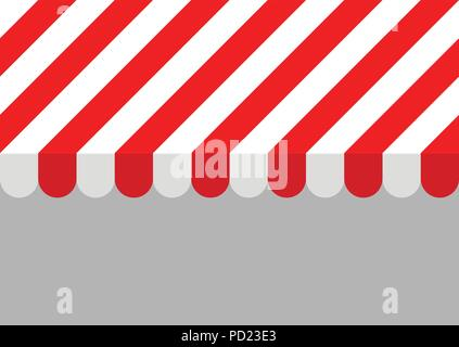 Red and white striped sunshade. Horizontally seamless pattern, EPS 8 vector illustration or background for ads, covers, posters, websites etc. No. 1 - Stock Photo