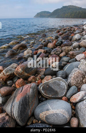 Cobblestones, Lake Superior, Lake Superior Provincial Park, Ontario, Canada, by Bruce Montagne/Dembinsky Photo Assoc - Stock Photo
