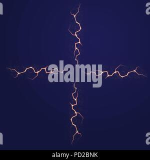 Four red lightnings with many shining dots isolated on dark blue background - Stock Photo