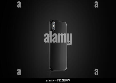 Blank black phone case mock up, stand left side view, 3d rendering. Smartphone cover mockup on black surface. Cellphone protector casing template - Stock Photo